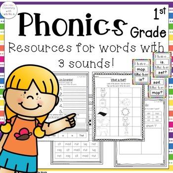 Phonics 1st Grade Unit 2: Resources for Words w/ 3 sounds: