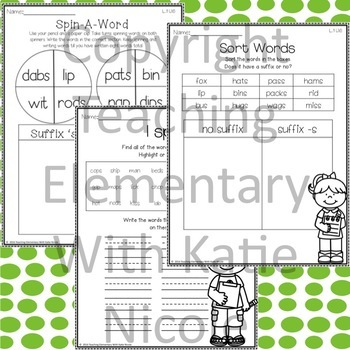 1st Grade Phonics: Resources for learning words with the Suffix 's'