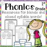 1st Grade Phonics: Resources for consonant blends and closed syllable words