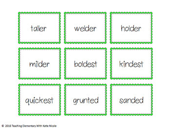 2nd Grade Phonics: Resources for suffixes: s, es, ed, ing & comparison words!