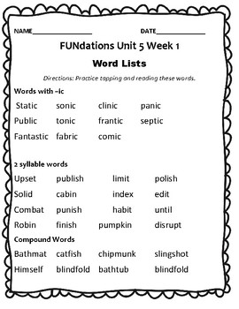 FUNdations Level 2 Unit 5 Week 1 Spelling Packet