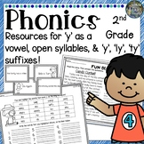 2nd Grade Phonics: Resources for open syllables, 'y' as vowel & suffixes