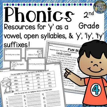Second Grade Unit 7 Practice open syllables, 'y' as vowel