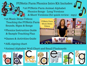 FUNetic Farm Animal Alphabet Phonics Intro Kit - with Songs and Videos