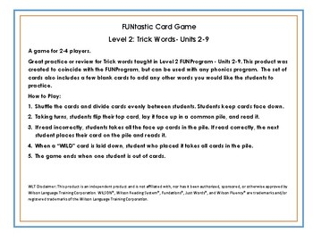 FUNtastic Card Game  Level 2: Trick Words- Units 2-9
