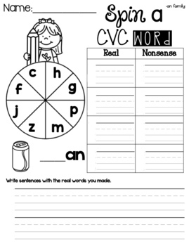 FUNtastic Phonics Spin a Word CVC Game for Level 1