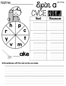 FUNtastic Phonics Spin a Word CVCE Game for Level 1