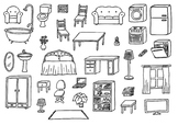 FURNITURE AND PREPOSITIONS - THE HOUSE Worksheet