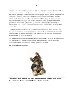 FURRY FRIENDS Reading and Letter Writing Worksheet