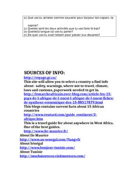 FUTUR SIMPLE ET PLANS DE  VOYAGE /TRAVELLING IN AFRICA