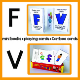 F & V Articulation Playing Cards, Mini Books, & Cariboo Cards for Speech Therapy