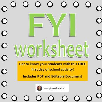 Fyi Student Get To Know You Worksheet By The Energizer Educator