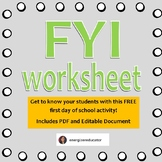 FYI - Student Get-To-Know-You Worksheet