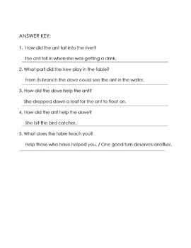 Fable ANT and DOVE Story Worksheet: Phonics Circle l blends + 5 Comprehension Qs
