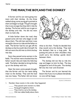 Fable, Audio, & Activities: The Man, The Boy, & The Donkey - Enhanced
