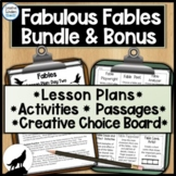 Fable Literacy Activities, Lesson Plan, Choice Board and Fable Packet Bundle