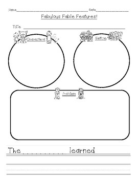 Fable Elements Graphic Organizer