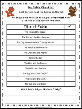 Fable Exploration Booklet