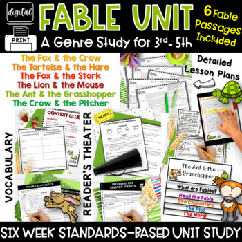 Fables Common Core 3rd Grade 4th Grade Upper RL3.2 RL3.3 R