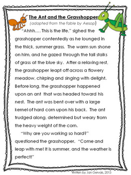 photograph regarding The Ant and the Grasshopper Story Printable known as Fable Freebie: The Ant and the Grhopper
