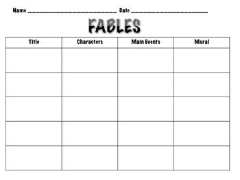 Fable Graphic Organizer