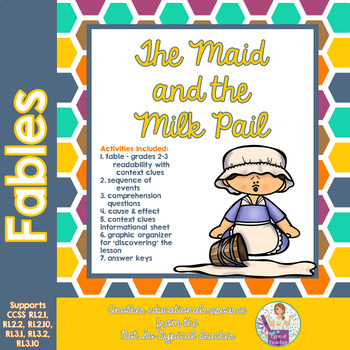 Fable Milkmaid Pail story with comprehension activities RL 3.2 RL 2.2 RL3.1