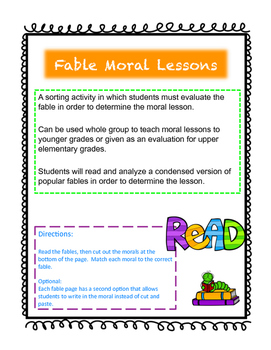 Fable Moral Lesson