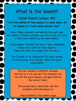 Fable Moral Lesson Activity and Sort 2nd edition!