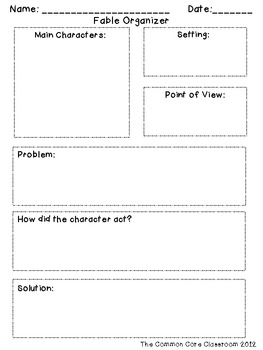 fable organizer rl 2 2 recount determine moral of story tpt. Black Bedroom Furniture Sets. Home Design Ideas