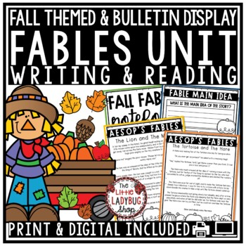 Fables Unit & Fall Writing- Anchor Charts, Writing, Activities & More