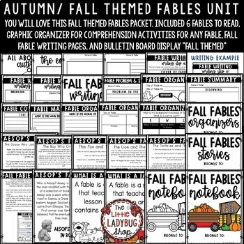 Aesop's Fables Activities:  Reading Graphic Organizers, Fall Bulletin Board