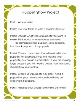 Fable Writing Unit: Story, Reader's Theater and Puppet Show