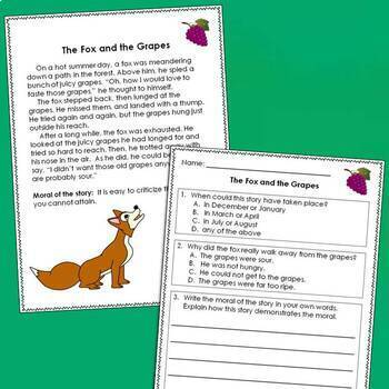 Fables with Text Evidence Questions and Graphic Organizers
