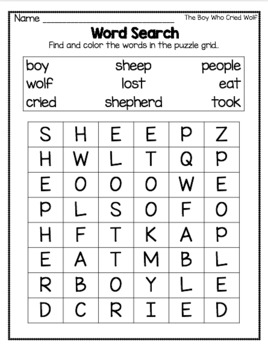 Fables Activities The Boy Who Cried Wolf Emergent Reader and Writing