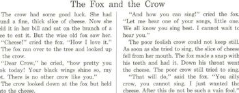 Fables: CROW and PITCHER, FOX and CROW w READING COMPREHENSION STRATEGY 2 for $1