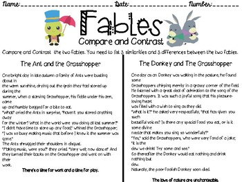 Fables: Compare and Contrast