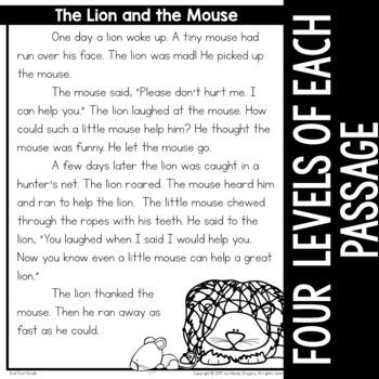 Fables Comprehension Passages (LEVELED)