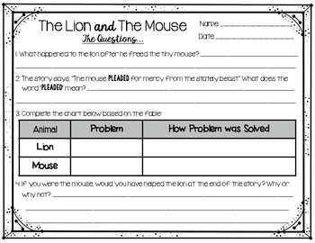 Fable Comprehension Questions