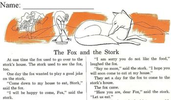 Fables: FOX and BEES; FOX and STORK w/ READING COMPREHENSION STRATEGY - 2 for $1