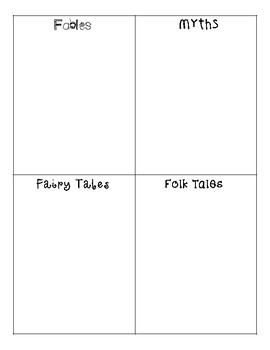 Fables, Folk Tales, Fairy Tales, and Myths Sort