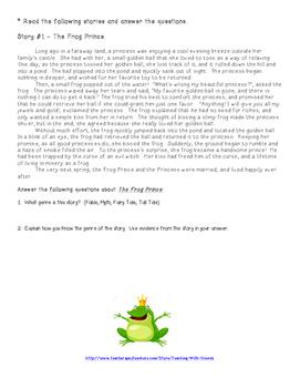 Fables Folktales & Myths Unit Test
