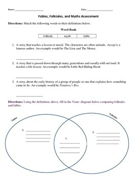 Fables, Folktales, and Myths Assessment