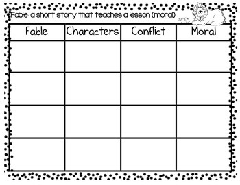 Fables-Graphic Organizer
