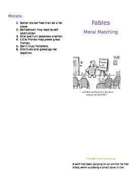 Fables: Matching Morals