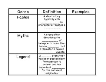 Fables, Myths, Legends Reader's Notebook
