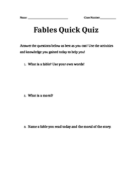 Fables Quick Quiz