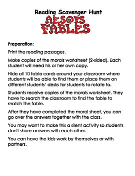 Fables Reading Scavenger Hunt