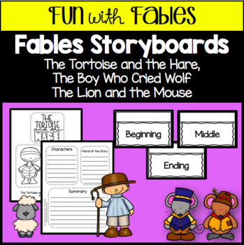 Fables Lapbook Storyboards - Lion/Mouse, Tortoise/Hare, Boy Cried Wolf