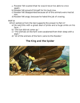 Fables- TWO Paired Passages Test- Part A Part B Format with Essay Question