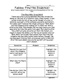 Fables: The Boy Who Cried Wolf- Finding Text Evidence